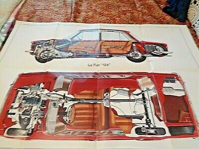 """VTG1966 QUATTROUTE-ITALIAN POSTER """"FIAT 124 """"SPIDER CUT-AWAY- GIULIO BETTI"""