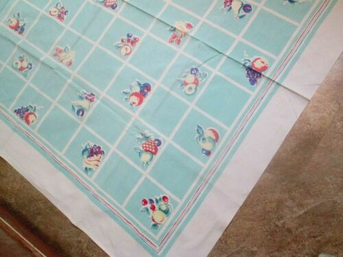 """VINTAGE Cotton Print Tablecloth """"SQUARES OF SUMMER FRUIT"""" 48X52 A++ Condition"""