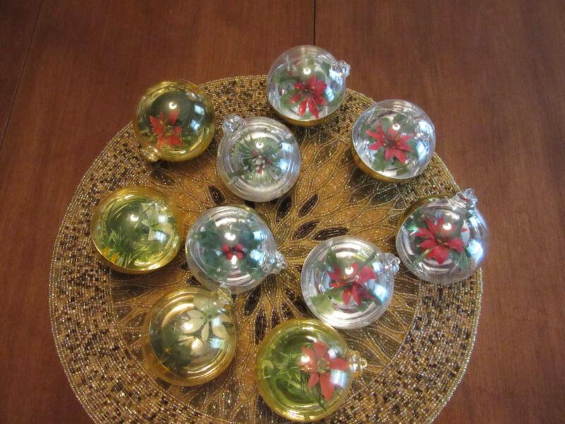Lot of 10 Jewelbrite Diorama Christmas Balls