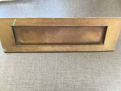 Brass Letter Box Vintage 80s Patina 25.5cm X 7.5cm Solid Used Distresses Plain