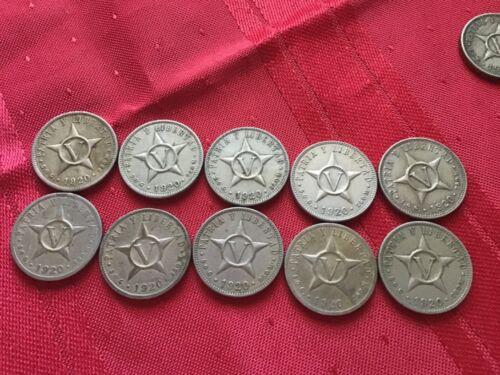 1920 Republic Of Cuba Coin Patria Y Libert AD Cinco Centavos