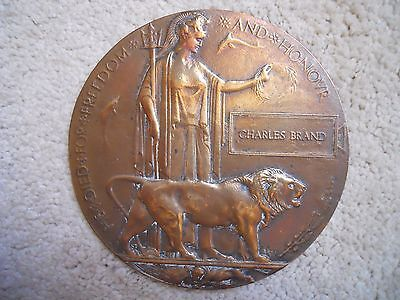 WW1 PLAQUE CHARLES BRAND ORIGINAL FULL SIZE