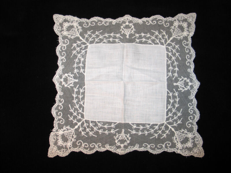 VTG Antique Needle Run Embroidery Net Lace Handkerchief Hanky~Bridal-