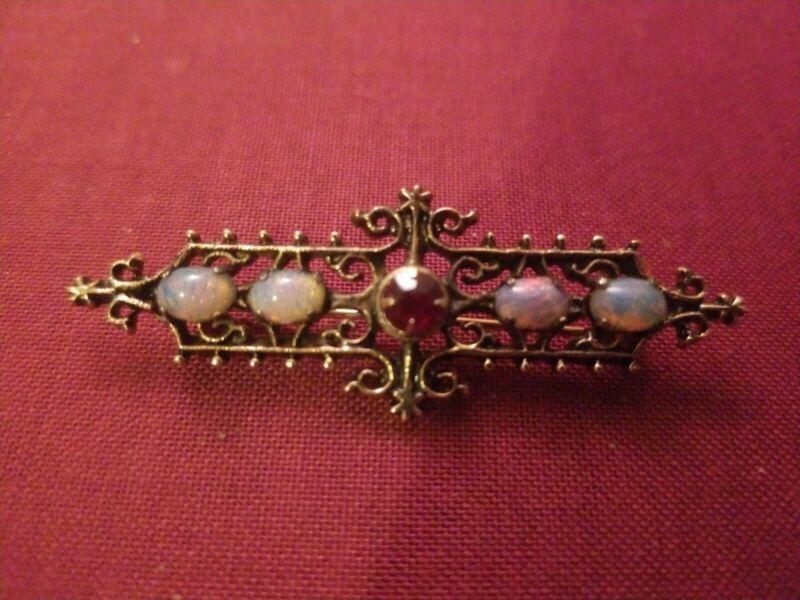 Sarah Coventry Bar Pin Faux gold Opal Ruby vintage Cov