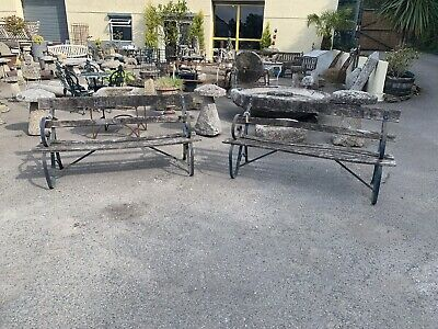 Vintage Garden Bench Constructed In Iron And Wood. Distressed.
