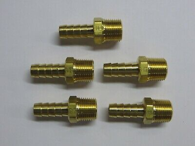 Lot Of 5 38 Npt Male X 38 Hose Barb Brass Fitting Parker New