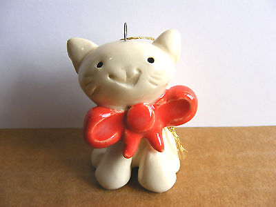Little Guys Cat With Bow Christmas Ornament Mini Animal Cindy Pacileo Pottery