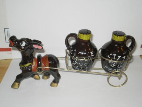 VINTAGE LITTLE BROWN JUG DONKEY SET SALT N PEPPER SHAKERS  1960