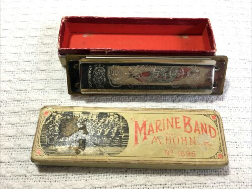 Vintage Hohner Marine Band Harmonica In Case Key of C Retro Blues Mouth Harp S-1