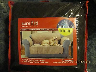 New Loveseat Slipcover - Soft Suede Pet Cover - Furniture Friend - Dark Brown Furniture Covers Soft Suede
