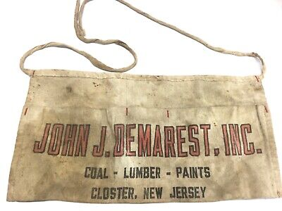 Antique Vintage John J. Demarest Coal Lumber Paint Closter NY Nail Apron