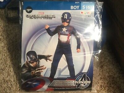 Avengers Captain America ( The Winter Soldier) Halloween Costume boys S(6)- New](The Winter Soldier Halloween Costume)