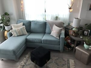 Stunning tiffany blue sectional couch less than 1 yr old!