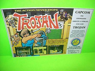 Capcom TROJAN Original NOS 1986 Video Arcade Game Flyer Electrocoin Rare UK