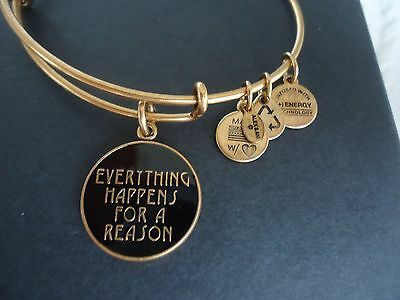 Alex And Ani Everything Happens For A Reason Russian Gold Charm Bangle W  Box