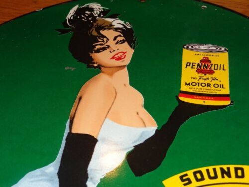 """VINTAGE 1964 PENNZOIL SOUND YOUR Z FEMALE MODEL 11 3/4"""" PORCELAIN METAL OIL SIGN"""