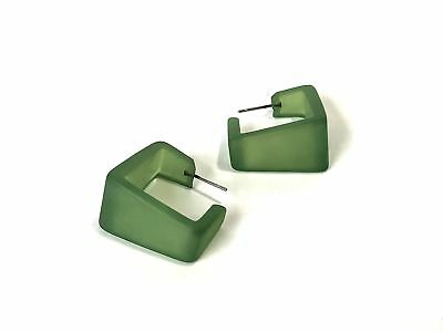 Sea Glass Green Hoop Earrings | Wide Cubist Frosted Vintage Lucite Square Hoops