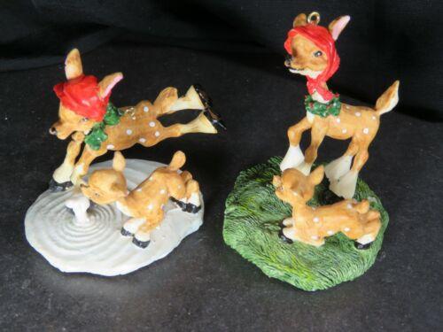 2 Vintage Reindeer Deer Christmas Ornaments Decorations Lot Resin B1339