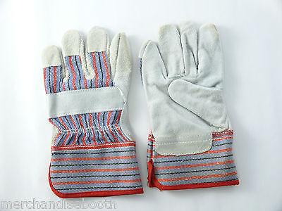 Kids Leather Garden Work Gloves, 4-8 years old, 1 Pair