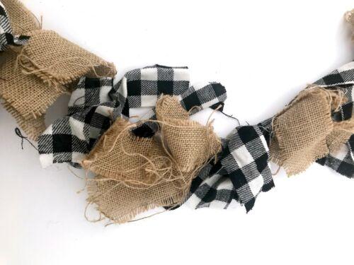 Black Buffalo Plaid Burlap Fabric Christmas Garland Primitive Decor Country R