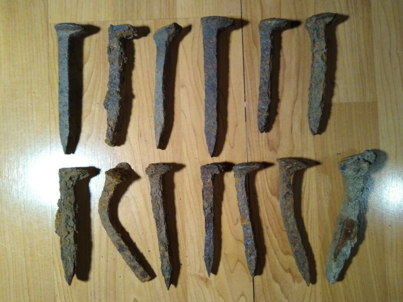 "Lot of 13 Antique Railroad Spikes Rust Covered & Worn 6""+ long"