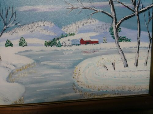 Folk Art Painting Primitive Winter Landscape Signed Dated 1978 Len Gouffer Rare - $56.00