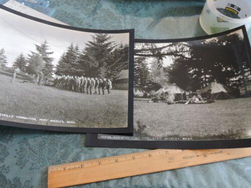 2 Orig 1939 Photos Reveille Formation US Artillery Camp Port Angeles Washington