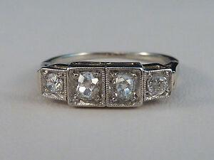 filigraner Allianz-Ring - Art Déco - 4 Altschliff-Diamanten 0,50ct - 585er Gold