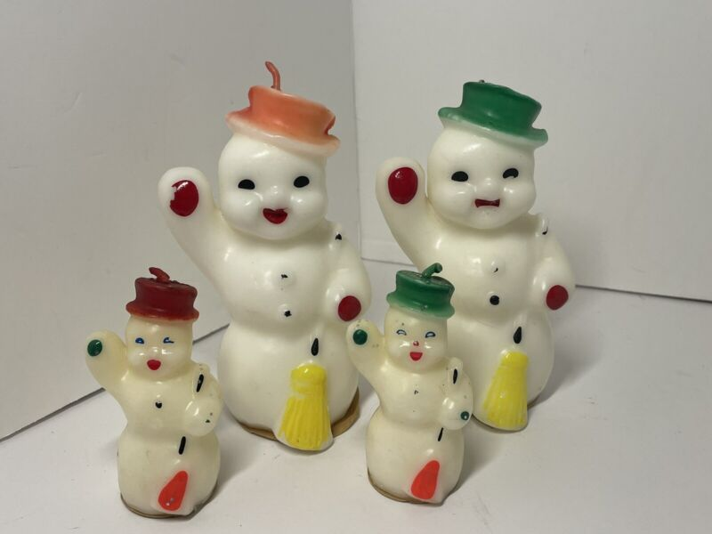 """Lot of 4 Vintage 1950s Gurley Novelty Snowman Christmas Wax Candles 5"""" & 3"""" Tall"""