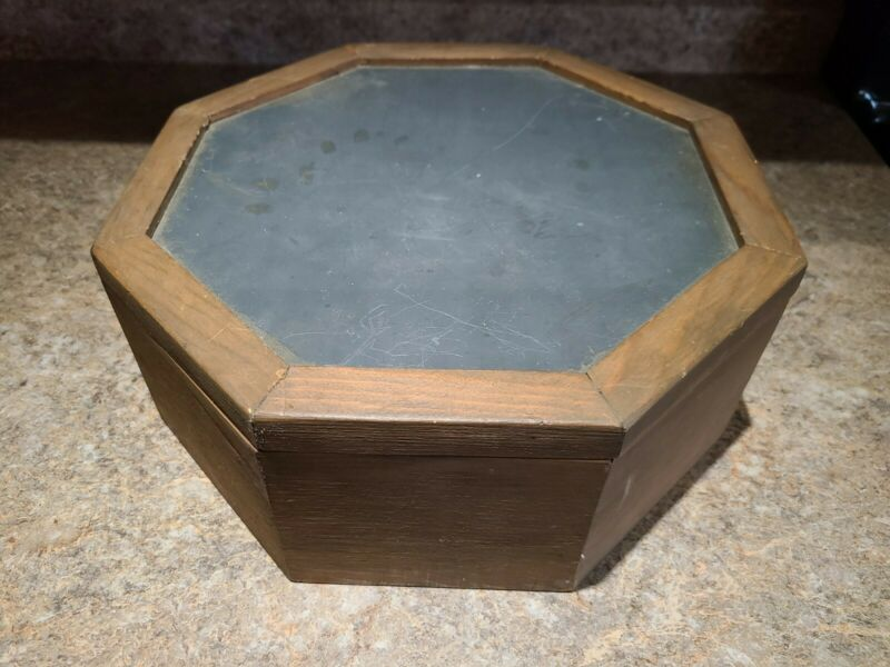 Vintage Wooden Octagon Hat Box Hinged Mirror Craft Project Antique