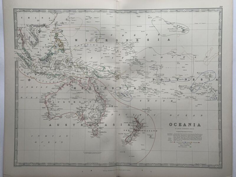 1868 Australia New Zealand Oceania Hand Coloured Antique Map by Johnston
