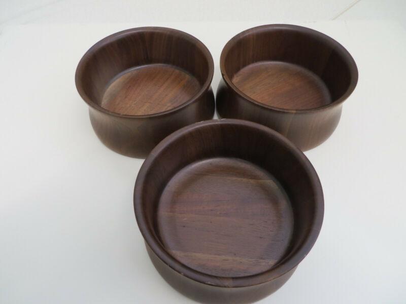 3 Vintage Quality DiD Ware American Walnut Bowls #1610 Lebanon MO