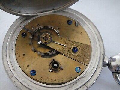 original E S Williams #14,777 Cornell Watch Co pocket watch key wind slv HC