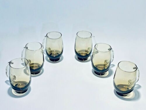 Magnificent Vintage Set Of Six Libbey Hand blown Glasses With Stylized Handles