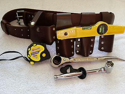 Scaffolding Brown Leather Belt Heavy Duty Full Tool Set Ratchet Spanner 1921