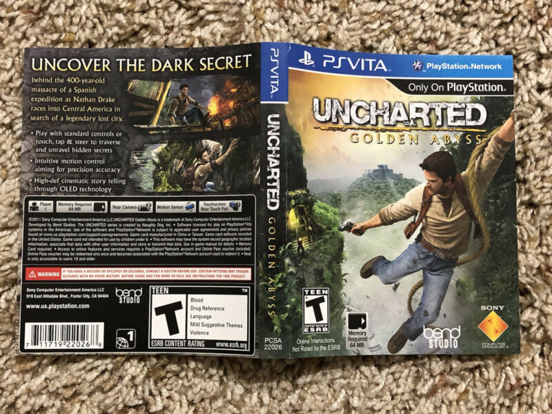 UNCHARTED GOLDEN ABYSS - PLAYSTATION PS VITA , ORIGINAL ART COVER ONLY , NO GAME