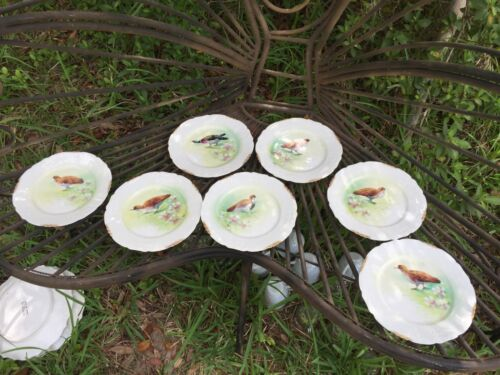 7 Vintage Limoges Hand Painted Signed Game Bird Plates LBDC Flambeau Antique