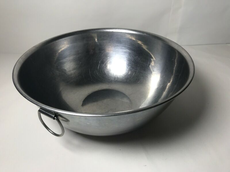 """Vintage Mixing Bowl Stainless Steel D Ring 4 quart 10 1/2"""" Dia. #7"""