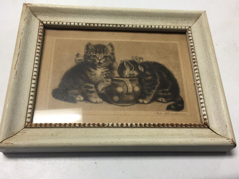 Meta Pluckebaum Sweet Tooth Cat Print Hand Colored 2 Tabby Kittens Crock Vintage