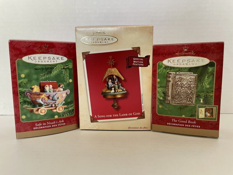 Hallmark Keepsake Ornaments Bundle- Song Lamb Of God, Noah's Ark, Good Book NIB