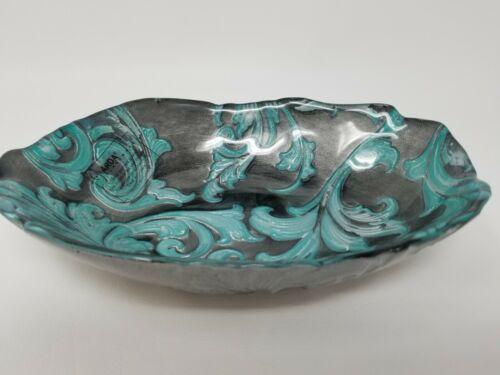 Vintage Turkish Arda Glassware Hand Painted Turquoise Gray Bowl