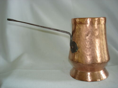 Antique Chocolate Pot 18th Century Hand-Hammered Copper w/ Original Cover