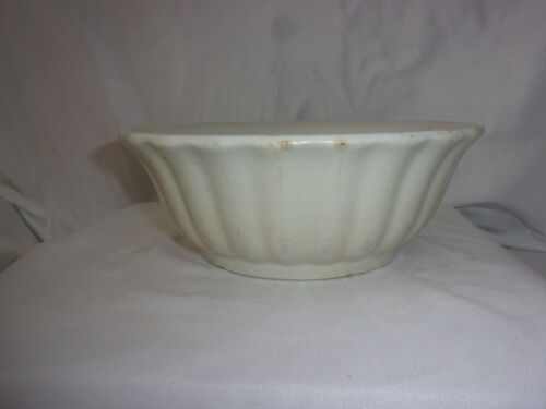 Antique J&G MEAKIN Ironstone Serving Mixing Bowl CRAZED FLUTED PATINA 8.5""