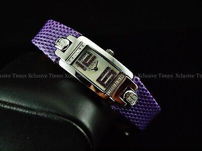 Croton Women Diamonds/Amethyst Sapphire Swiss Genuine Lizard Strap Watch-RARE