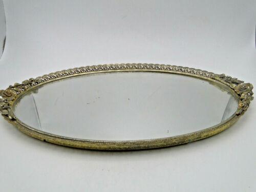 Vintage Filigree Gilded Metal Oval Mirrored Dresser Vanity Tray w flower handles