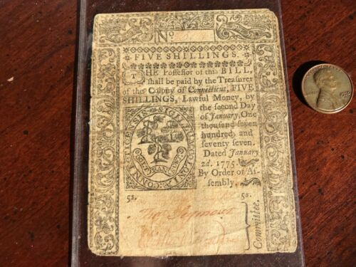 1775 Connecticut Colonial Currency Note 5 Shillings Tim Green Revolutionary War