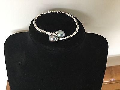 Genuine Silver-Grey TAHITIAN 2 Cultured Pearls & Sterling Silver Bangle Bracelet