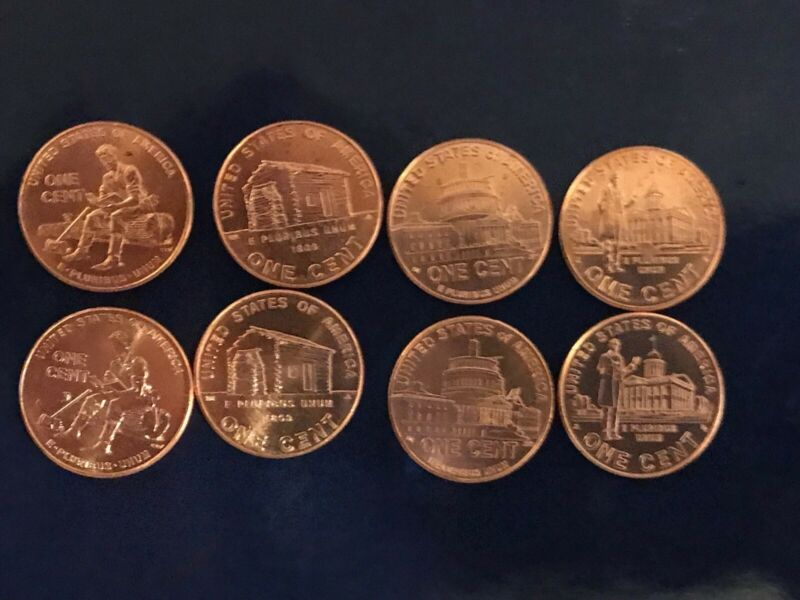 Complete Set Lincoln Uncirculated 2009 Cent Penny P & D  All 8 Coins