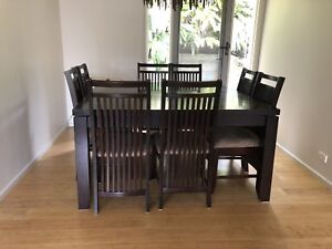 Solid wood square dining table with 8 chairs