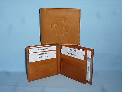 - MICHIGAN STATE SPARTANS   Leather BiFold Wallet    NEW    brown 4 +